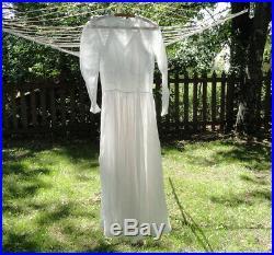 Antique 1900's Ladies Small Sheer White Organdy Tea Dress & Matching Satin Slip