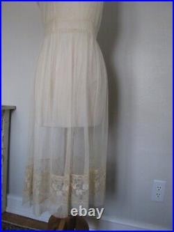 Antique 1920's Elegant Thin Net Lace Slip Dress All Original Sexy Candlelight