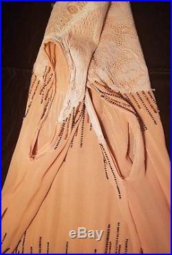 Antique 1920s Beaded Flower Flapper Dress, Handmade With Matching Slip