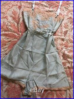 Antique 1920s Blue Silky Teddy Dress Lace Playsuit Flower Romper Ribbon Vintage