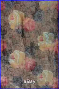 Antique 1920s Brown Orange Flapper Era Silk Dress Cotton Blue Flowers Slip Set