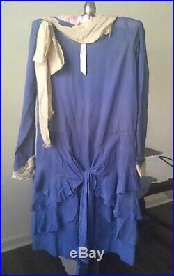 Antique 1920s Dusty BLUE Crepe Silk Flapper DRESS Tiered Ruffles with Slip Vintage