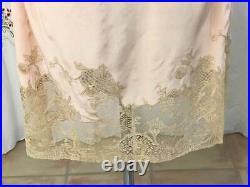Antique 1920s Peach Silk Flapper Slip Dress Handmade Lace Wedding Lingerie sz XS