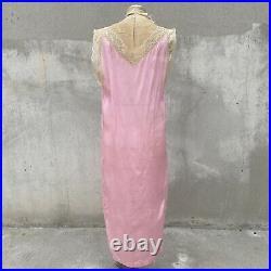 Antique 1920s Pink Silk Dress Slip Floral Lace Yellow Silk Flower Vintage
