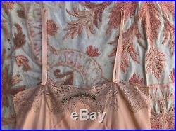 Antique 1920s Pink Silk Teddy Dress Slip Lace Playsuit Aulk Flower Romper Ribbon