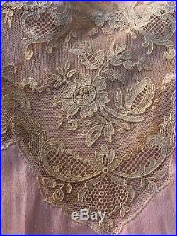 Antique 1920s Pink Silk Teddy Dress Slip Lace Pleated Silk Flowers Romper Ribbon
