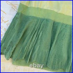 Antique 1920s green silk slip dress chiffon pleats sleeveless 1930s Vintage