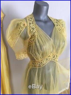 Antique 1930s 40s Yellow Net Dress w Slip Wow