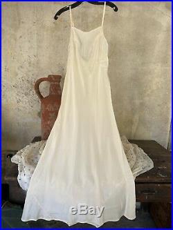 Antique 1930s Cream Maxi Dress Slip Low Back Bias Cut Rayon Strappy Vintage