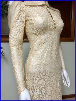 Antique 1930s Dress Lace Wedding Bias Cut Matching Slip