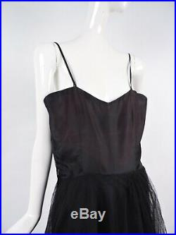 Antique 1930s Layered Long Black Tulle Slip For Dress / Gown