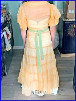 Antique 1930s Peach Sheer dress with slip-stunner! Size 2-4