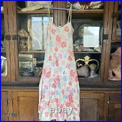 Antique 1930s Pink Blu Floral Print Sleeveless Dress Slip Ruffles Rayon Vintage