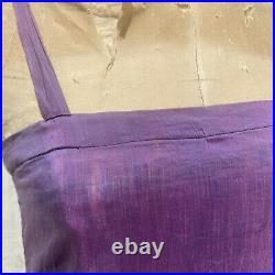 Antique 1930s Purple Silk & Cotton Dress Slip Ruffles Sleeveless Strappy Vintage