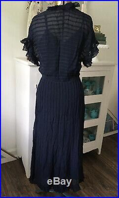 Antique 1930s SHEER BLUE Silk Ruffled Party DRESS Pleated Matching Bias Slip