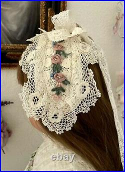 Antique 3pc Dress/Slip Irish Lace Rose Hat for LARGE Antique French, German Doll