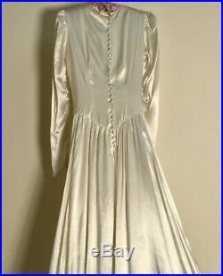 Antique Art Deco SILK-SATIN WEDDING BRIDAL GOWN Juliet Cap-Veil / Crinoline Slip