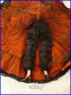 Antique Boudoir Doll Painted Face Black Dress with Lace Red Slip and Tulle 30 in