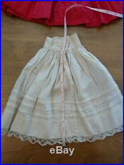 Antique Cherry Red Doll Dress Matching Slip Gibson Girl Sleeves