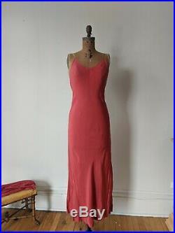 Antique Dress Vintage 1920s Pink Silk Chiffon Beaded Tassel Gown w Slip Dress