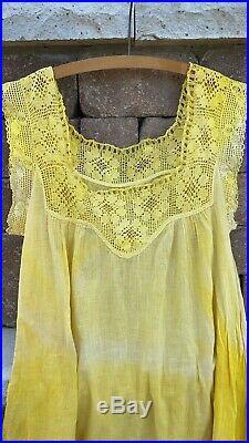 Antique Edwardian Crochet Cotton Slip Dress Hand Dyed 1900s Pale Yellow Summer