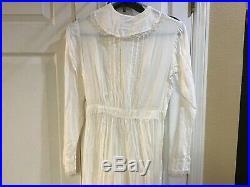 Antique Edwardian Full Length Cotton Lace L/s Garden Dress + Full Length Slip