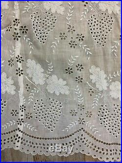 Antique Edwardian Hand Embroidered White Batiste Lace Lingerie Train Slip Skirt