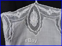 Antique Edwardian Rich Hand Embroidered Linen Slip For Dress From Italy
