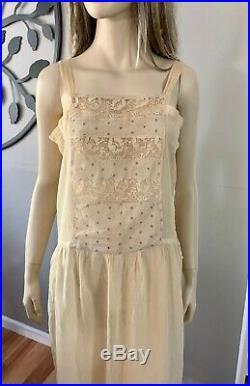 Antique Edwardian Sheer Embroidered & Lace Batiste Chemise Petticoat Slip Dress