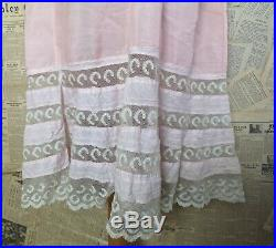 Antique Edwardian dress slip, pink cotton and lace petticoat