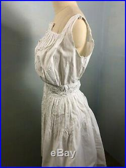 Antique Edwardian lingerie Broderie Anglaise White Embroidered Lace Slip Dress
