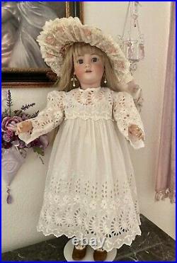Antique Embroidered Fancy White Work Dress/Slip for 32 + Jumeau Bru German Doll