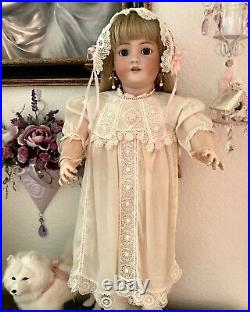 Antique Exquisite SilkIrish Lace Dress/Slip & Hat for Lg JumeauBruGerman Doll