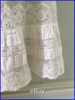 Antique French Chemise Petticoat Camisole Dress Victorian Lace White Cotton