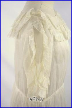 Antique Ivory White Sheer Flowy Ruffle Collar Petticoat Slip A Line Midi Dress M