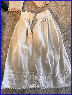 Antique VTG Doll Clothes BLUE CALICO Dress Civil War Victorian PANTALOONS SLIP