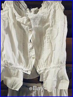 Antique Victorian Cotton Wedding Dress Slip Camisole 4Pc