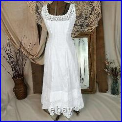 Antique Victorian Edwardian White Cotton Dress Maxi Slip Chemise Petticoat Lace