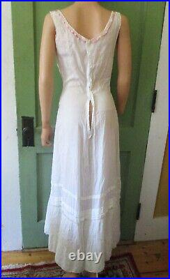 Antique Victorian Embroidered Lace Gown Or Slip With Train