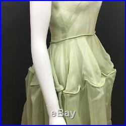 Antique Victorian Petticoat Slip Dress Green Sheer Western Bustle RARE