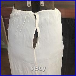 Antique Victorian White Chiffon Silk Petticoat Wedding Skirt Dress Slip Long