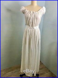 Antique Victorian White Cotton Chemise NIghtgown Dress or Slip with Tatting Lace
