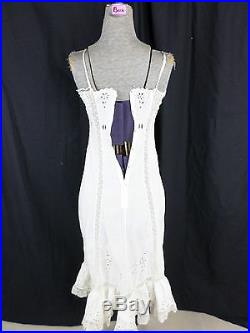 Antique Victorian White Eyelet Crochet Lace Cotton Dress Slip- Bust 29, AS-IS