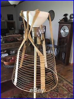 Antique Victorian Wire & Brass Dress Cage Lace Petticoat Hoop Skirt Set- Size 16
