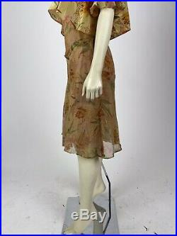 Antique Vintage 1920s stunning Yellow Floral Silk Flapper Slip Dress AS IS