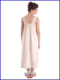 Antique Vintage Nightgown Dress White Cotton Crocheted Lace Yoke Perfect 38 Bust