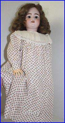 Antique Vintage Simon Halbig 25 Brown real hair, sleep eyes extra dress & slip