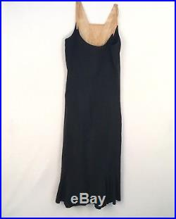 Antique Vtg 1910s 1920s Silk Velvet Devore Lace Long Dress Matching Silk Slip