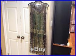 Antique Vtg 1920s Flapper Sheer Black Gold Metallic Floral Lace Dress Slip
