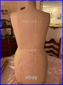 Antique WOLF Industrial Half body dress form Union Made Mannequin BRA & SLIP